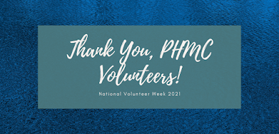 """Blue shimmering background with a gray box in the center. Text in white letters reads """"Thank You, PHMC Volunteers! National Volunteer Week 2021"""""""