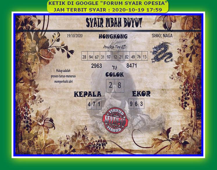 Kode syair Hongkong senin 19 oktober 2020 119