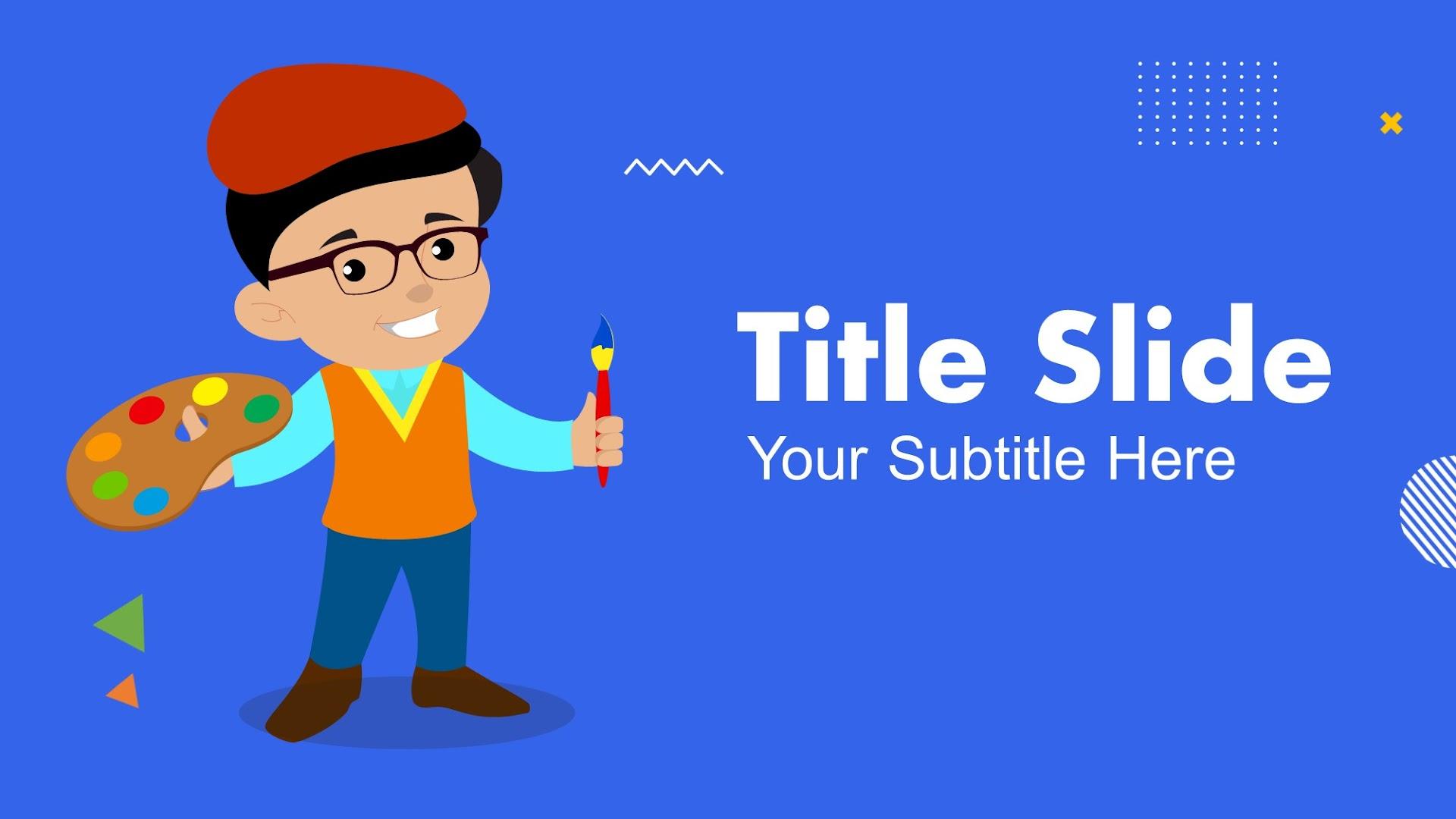Artist and Painter Kids Background set for Google Slides
