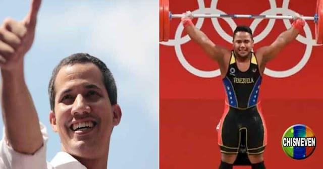 Juan Guaidó derrochando alegría por la medalla de plata de Keydomar Vallenilla