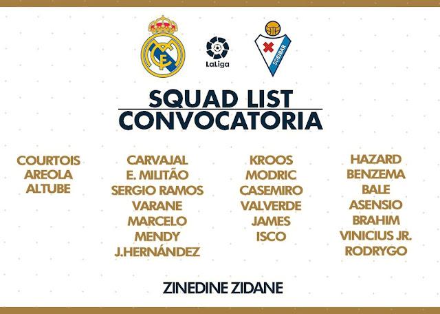 قائمة ريال مدريد لمواجهة إيبار