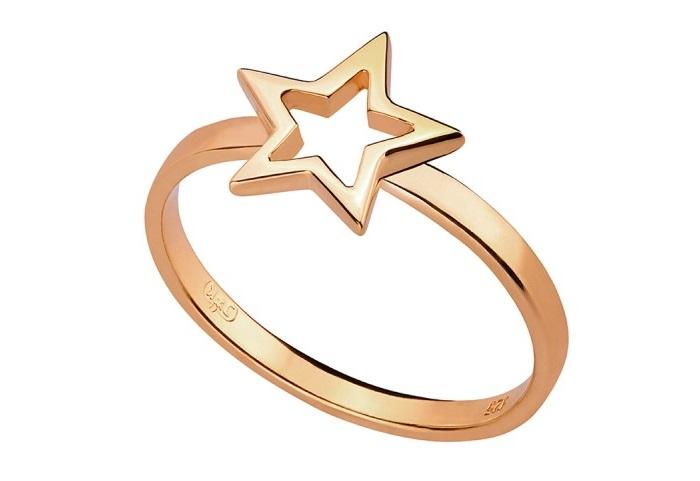 anillo de estrella de la marca polaca My Way Jewellery, joyas tendencia 2017, anillos dorados, estilo minimalista