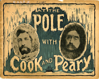Graphic cover of 1909 North Pole Expedition Booklet with portraits of Cook and Perry