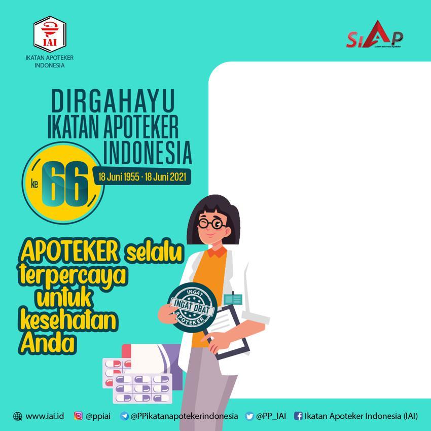 Link Desain Bingkai Twibbon HUT ke-66 Ikatan Apoteker Indonesia (IAI) Tahun 2021 - Twibbonize