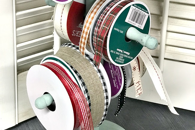 Repurposed Christmas Ribbon Organization