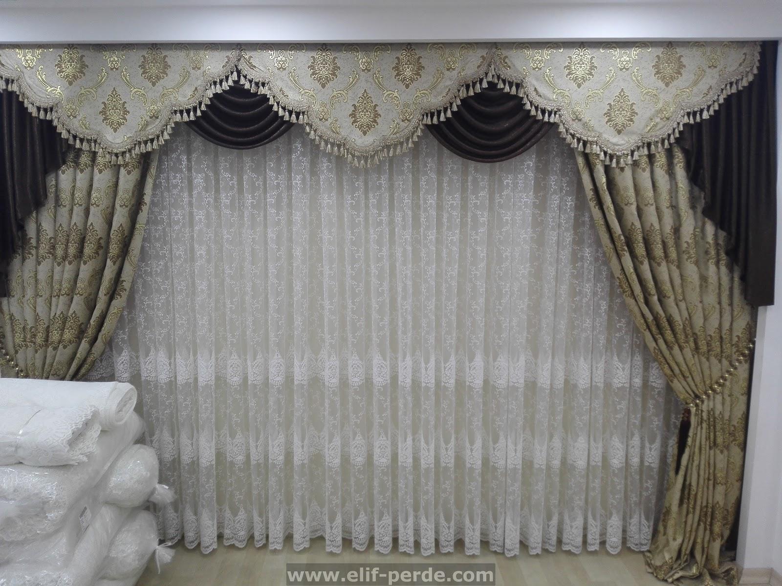 kahverengi alt n simli fon perde modeli elif perde. Black Bedroom Furniture Sets. Home Design Ideas