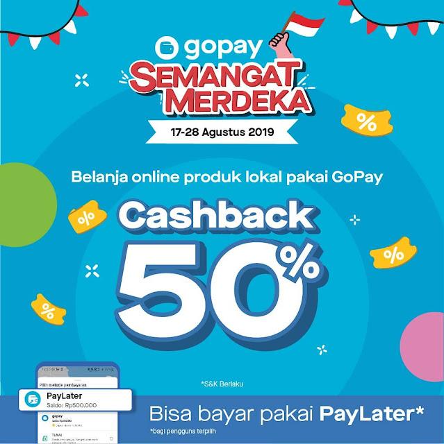 #GOPAY - #Promo Cashback 50% Semangat Merdeka di Berbagai Merchant (17 - 28 Agustus 2019)