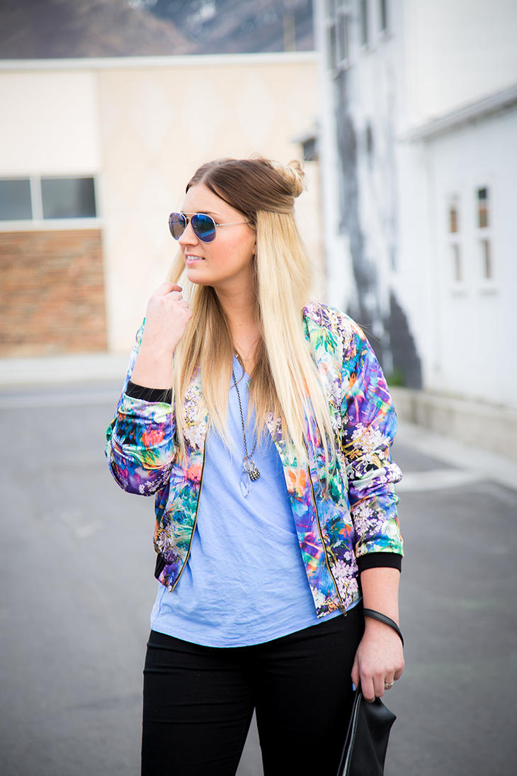 Floral Jacket- Holding Hair