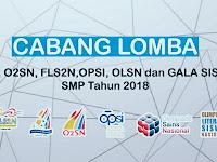 Cabang Lomba Untuk Jenjang SMP Di Tingkat Nasional Tahun 2018