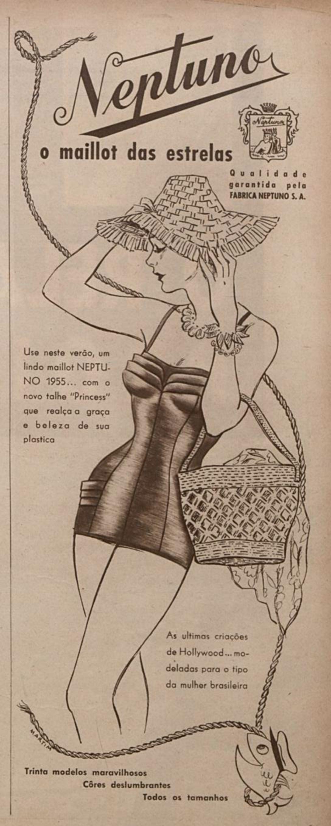 Anúncio antigo veiculado em 1954 do maiô Neptuno para a moda do verão em 1955