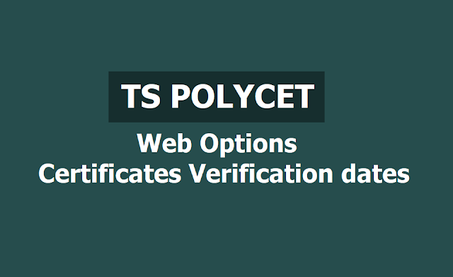 TS Polycet 2019 Web options, Certificates verification dates /schedule