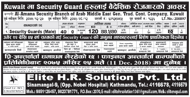 Jobs in Kuwait for Nepali, Salary Rs 44,500