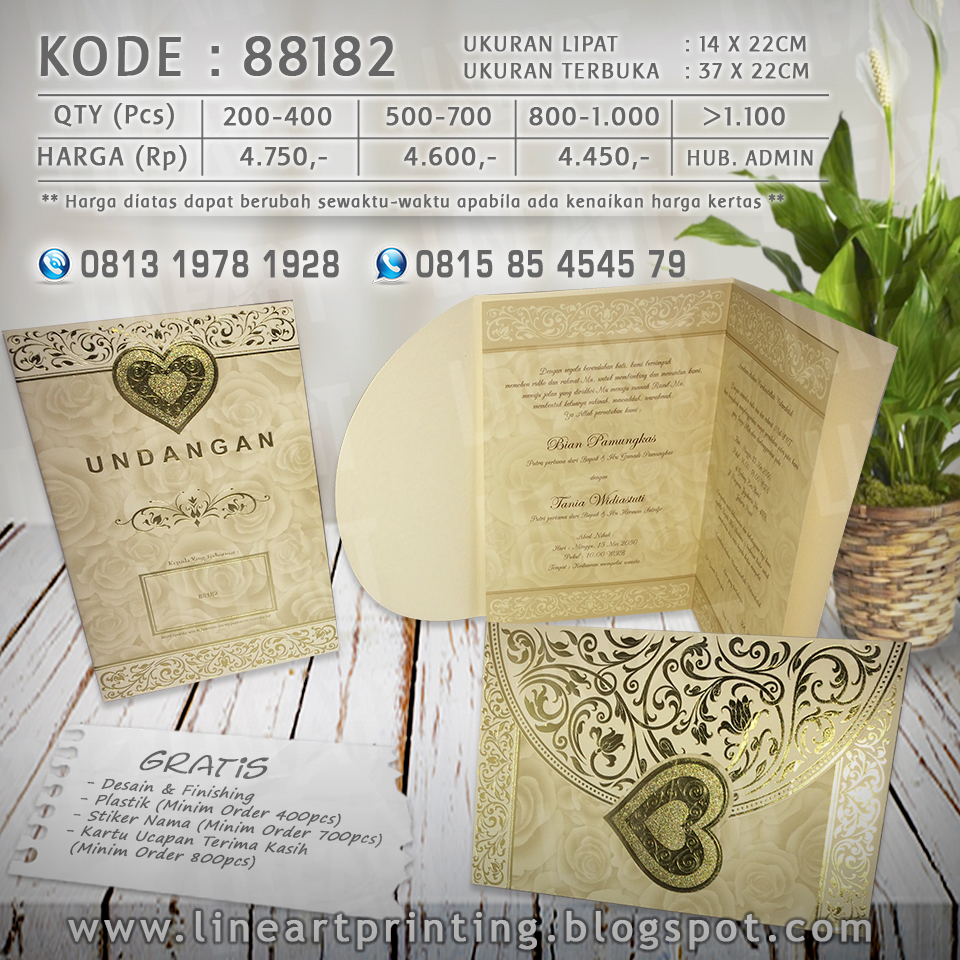 Lineart Printing Harga Undangan Kartu Kode Blangko 88186 88182