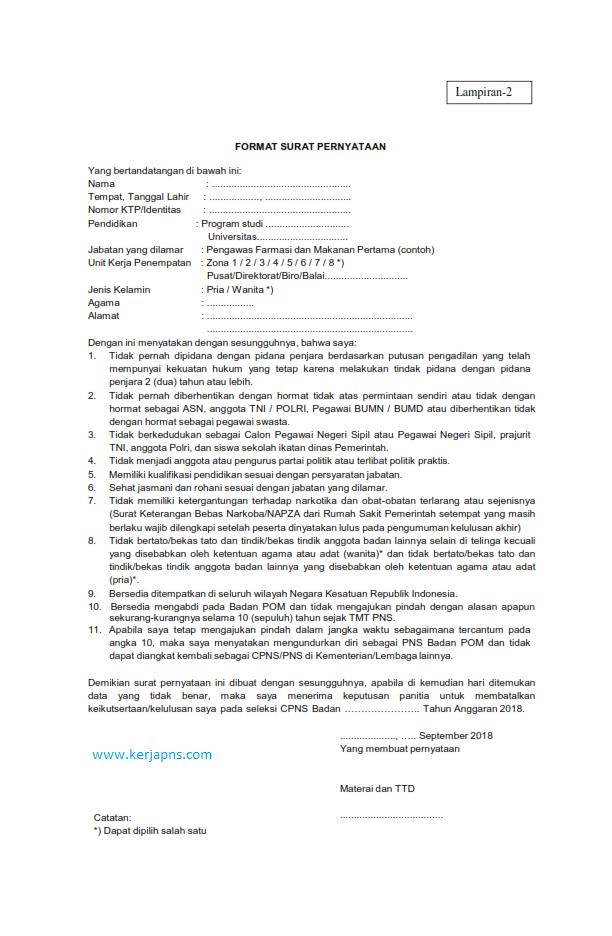 Surat Pernyataan CPNS 2019 - INFO PNS dan Lowongan Kerja