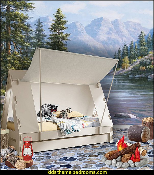 Cabin Tent Bed camping bedroom camping tent bed  outdoor theme bedroom ideas - camping theme bedroom decor  - backyard themed kids rooms  - bugs and critters theme bedrooms - Happy Camper little boys outdoor theme bedroom - tree wall decal - dog wall decal stickers - treehouse bed  treehouse theme bedrooms - camping room decor - camping theme room - Boy Scout Camp mural - backyard garden camping bedroom ideas - nature inspired bedding - nature wallpaper murals - plush critter toys