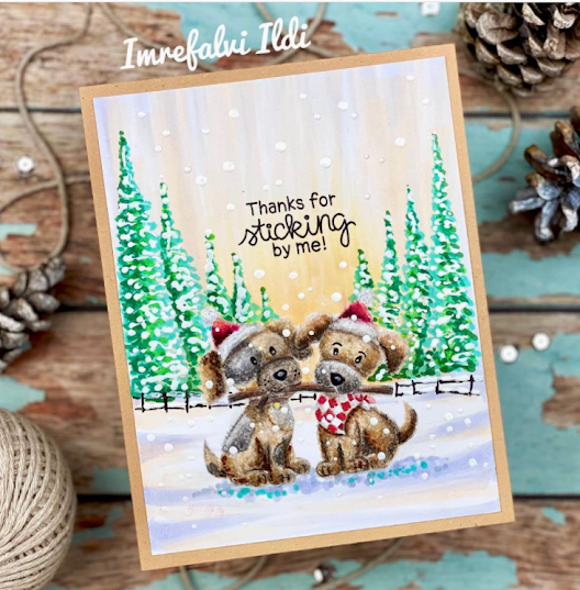 Thanks for sharing by Hellopilda features Puppy Pals by Newton's Nook Designs; #newtonsnook, #inkypaws, #cardmaking, #wintercards