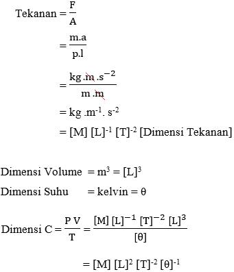 dimensi konstanta C