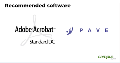 Screenshot of a video from campus suite with logos from Adobe Acrobat Standard DC and PAVE