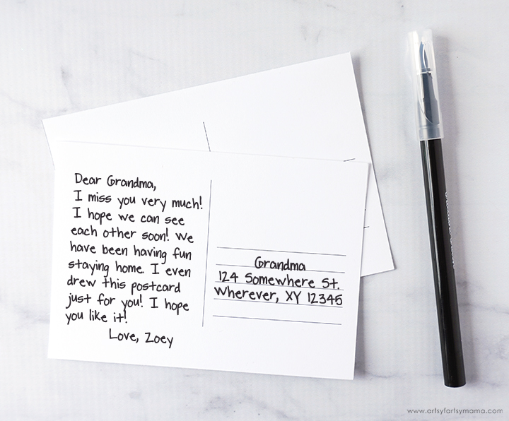 Hand Lettered Postcards with Free Printable Postcard Template