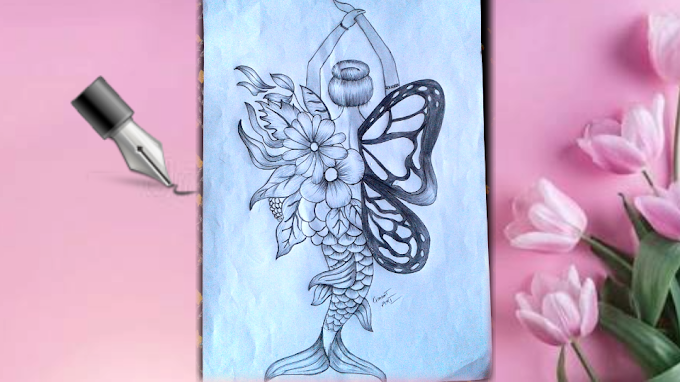 Draw a butterfly Mermaid || mukta easy drawing pencil sketch || draw a beautiful girl || Chahat Art