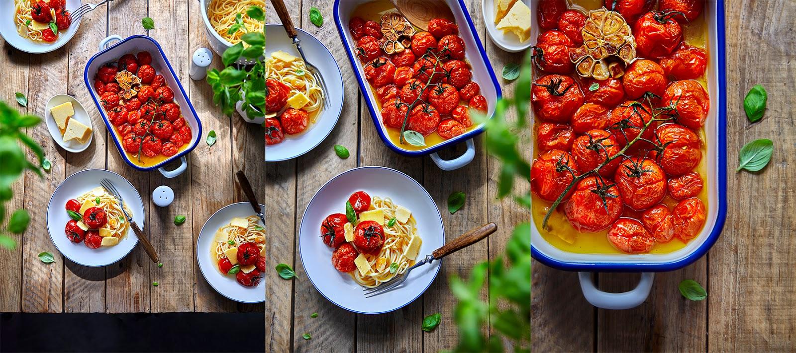 pieczone pomidory, pomidory z piekarnika, pomidory z czosnkiem, pomidory pieczone z winem, kraina miodem płynąca, fotograf kulinarny szczecin