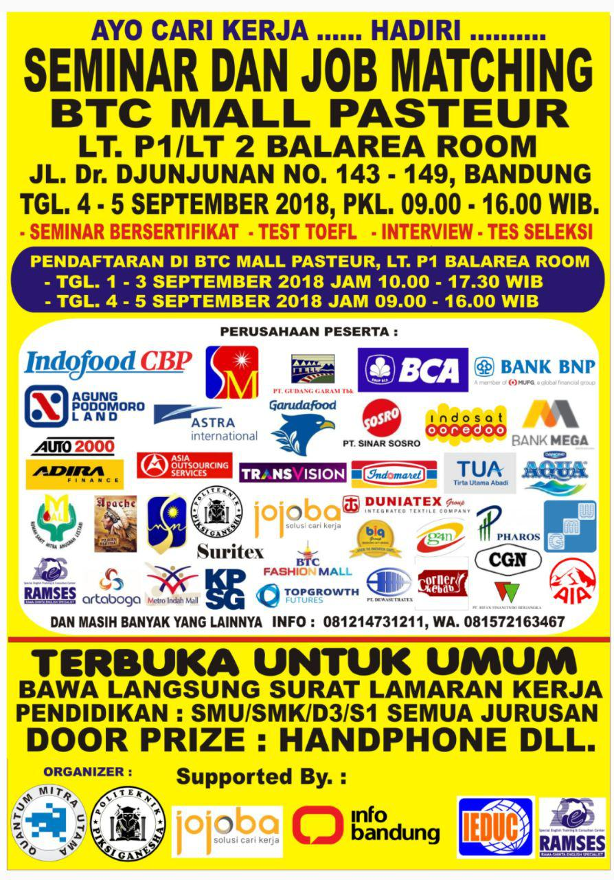 Seminar & Job Matching BTC Mall Pasteur 4 - 5 September 2018