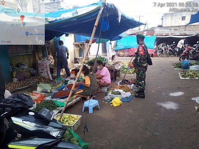 Tepatnya Di Pasar Indra Pura, Personel Jajaran Kodim 0208/Asahan Laksanakan Razia Masker