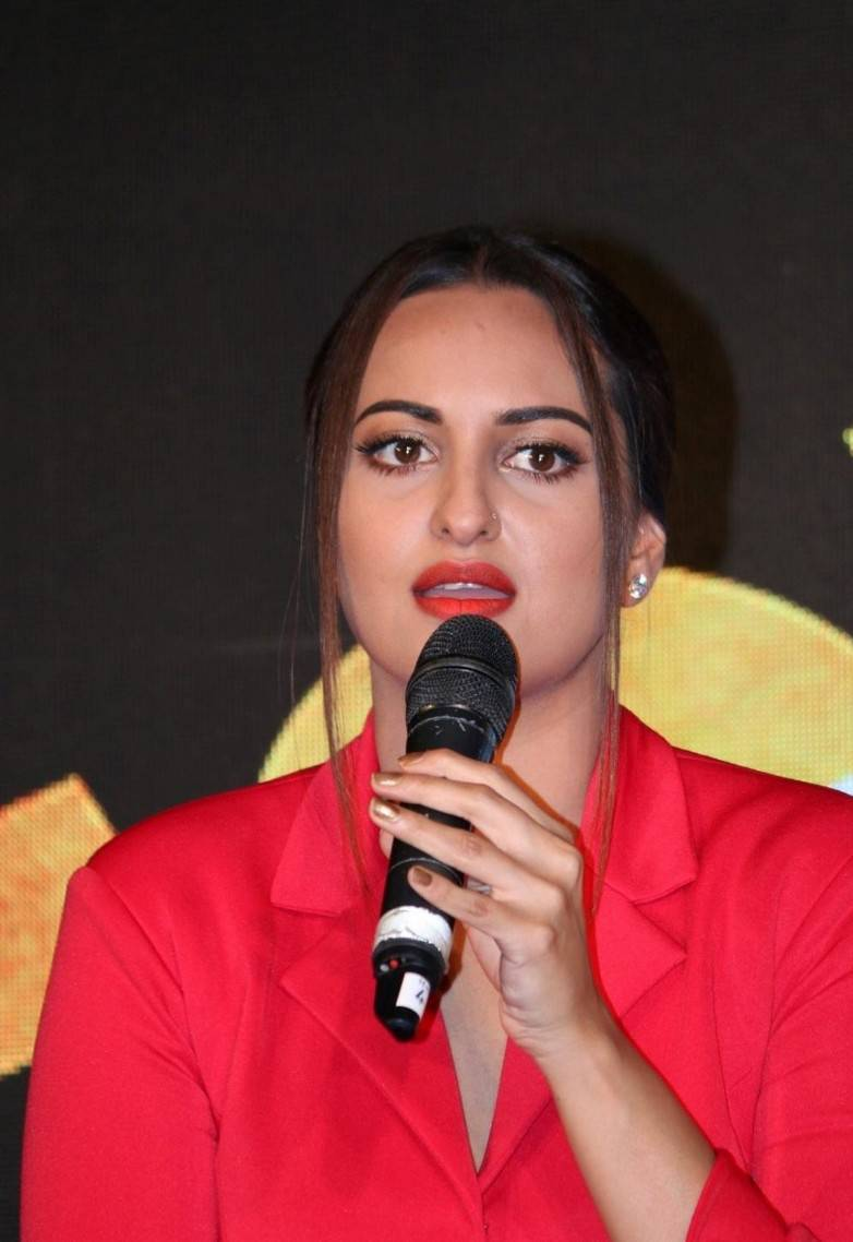 Actress Sonakshi Sinha Stills In Red Dress At Video Song Launch