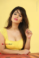 Cute Telugu Actress Shunaya Solanki High Definition Spicy Pos in Yellow Top and Skirt  0534.JPG