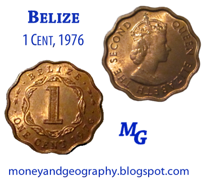 1976 Belize 1 Cent scalloped coin