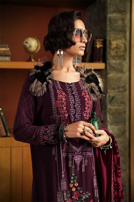 Maria b winter unstitched Purple color linen suit front design