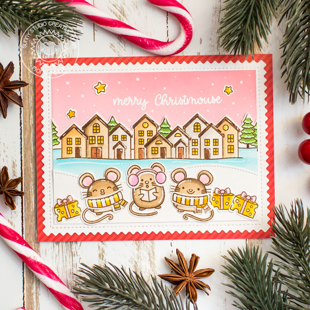 Sunny Studio Stamps: Merry Mice Scenic Route Frilly Frame Dies Winter Themed Holiday Card by Mona Toth