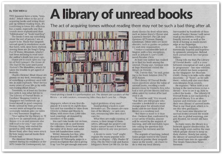 A library of unread books - Keratan akhbar The Star 20 Oktober 2020