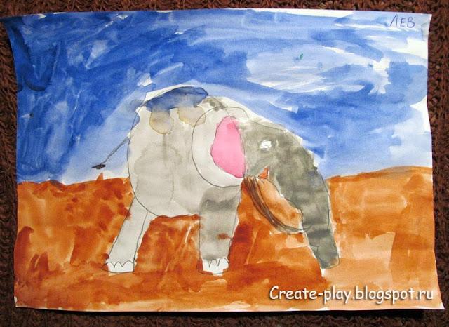 детский рисунок слон