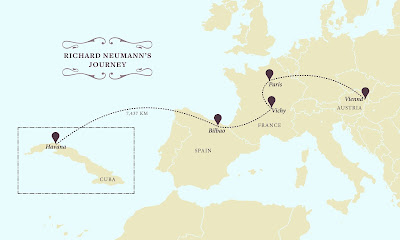 A map of Europe, showing a journey from Vienna to Paris, south through Vichy to Bilbao, Spain, then across the ocean to Cuba.