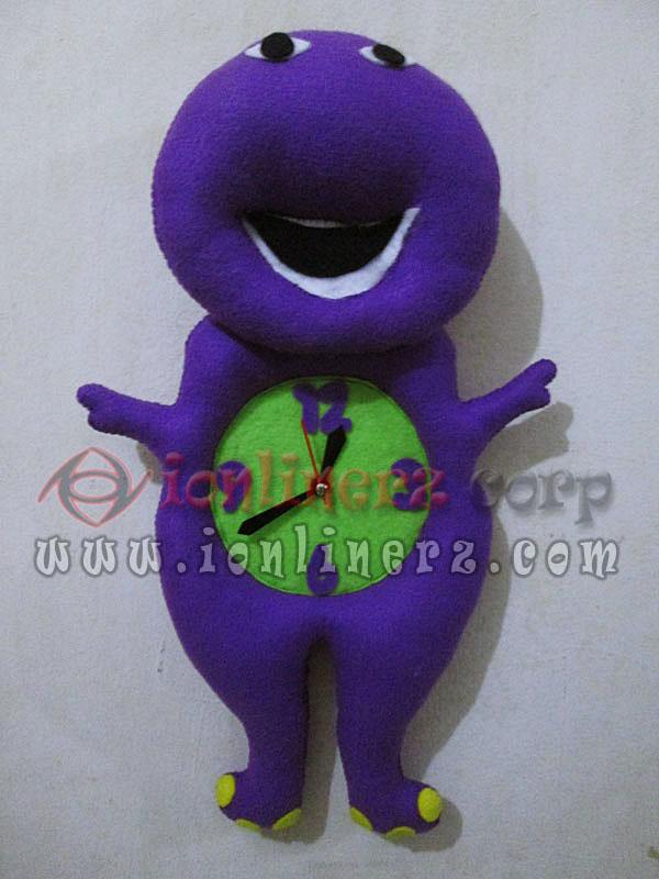 Jam Dinding Flanel Karakter Kartun Boneka Barney