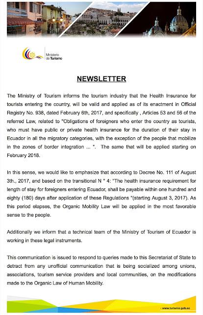 Requisito de Seguro de Salud para ingreso al Ecuador a partir de Febrero 2018