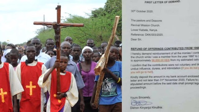 Time for the gods of this church to pay back: Kenyan man requests for refund of his Offerings to a Church since 1997 to 2018