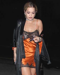 Rita Ora Exposing her  Huge  in transparent Short Gown  Pics