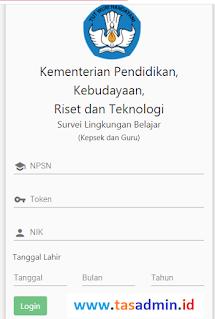 Login Web Survei Lingkungan Belajar