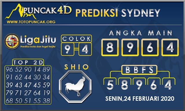 PREDIKSI TOGEL SYDNEY PUNCAK4D 24 FEBRUARI 2020