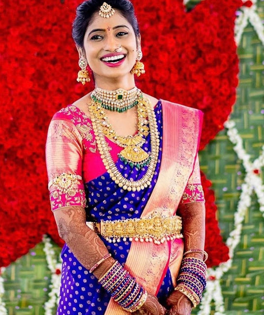 Bride in Flat Diamond Kasu Mala Choker