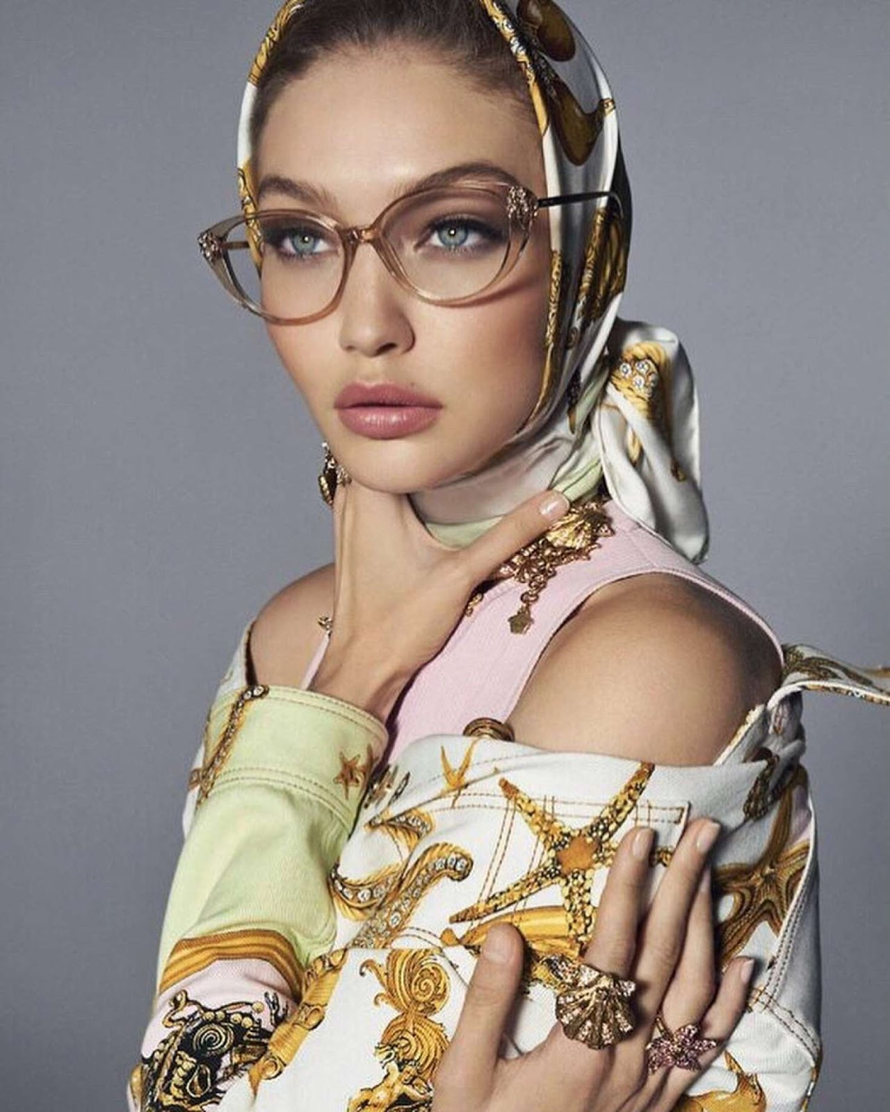 Gigi Hadid poses for the Versace Spring/Summer 2018 Campaign