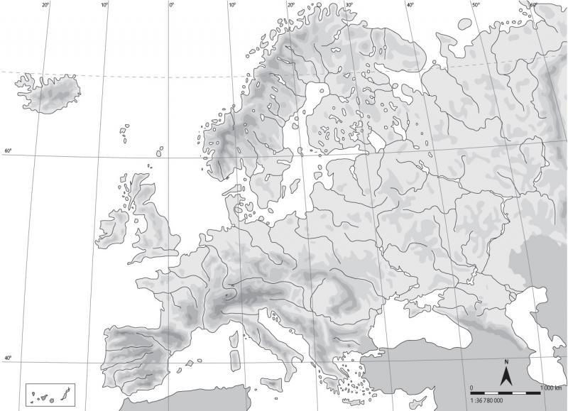 Mapa Mudo Rios Europa Blanco Y Negro.Geografiando Mapas