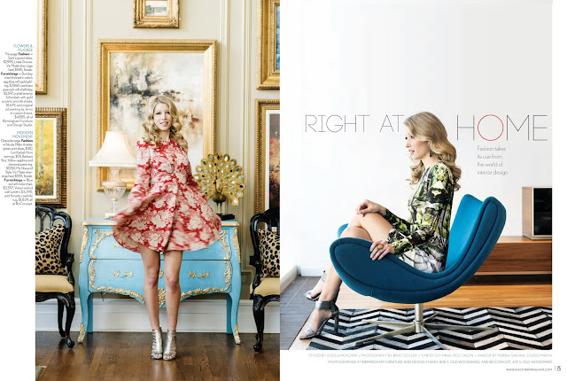 Birmingham Magazine Spring fashion shoot featuring Saint Laurent red floral dress