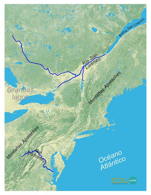 hidrografia, america del norte, norteamerica, rio, cuenca, AMERICA, san lorenzo, Potomac
