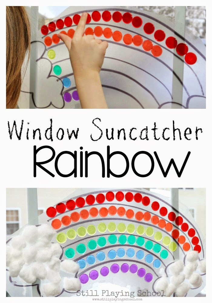 Kids work on sorting colors and fine motor skills which making this window rainbow suncatcher for Spring or St. Patrick's Day!
