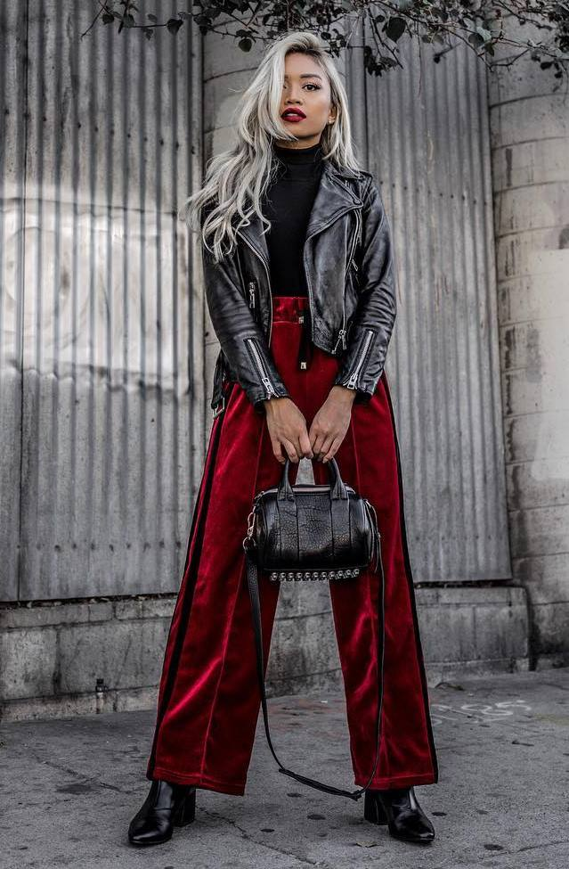 beautiful fall outfit / red velvet pants + moto jacket + bag + boots + black high neck top