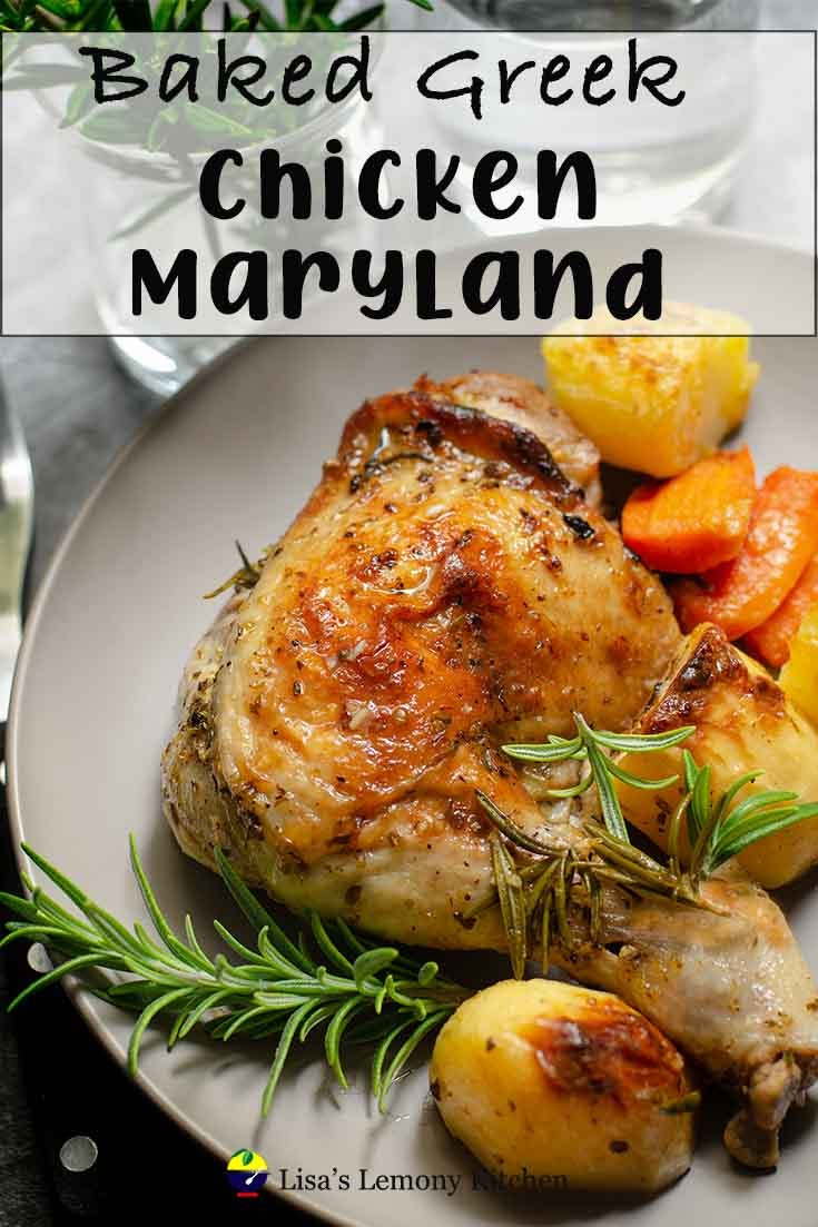 Easy Greek style lemon baked chicken maryland with potatoes and herbs, all in one pot.