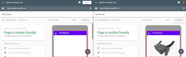 A comparison showing the old and the new mobile-friendly test. The old mobile-friendly test rendered a blank page and the new one renders the page correctly